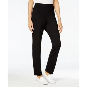 Black Pull on Pants High Rise Comfort Waist Sz M